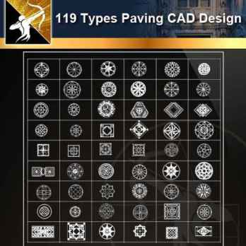 ★【119 Types CAD Paving Blocks】@Autocad Decoration Blocks,Drawings,CAD Details,Elevation
