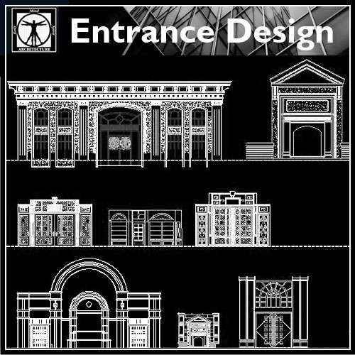 【Architecture CAD Details Collections】Entrance Design CAD Details,Door Details
