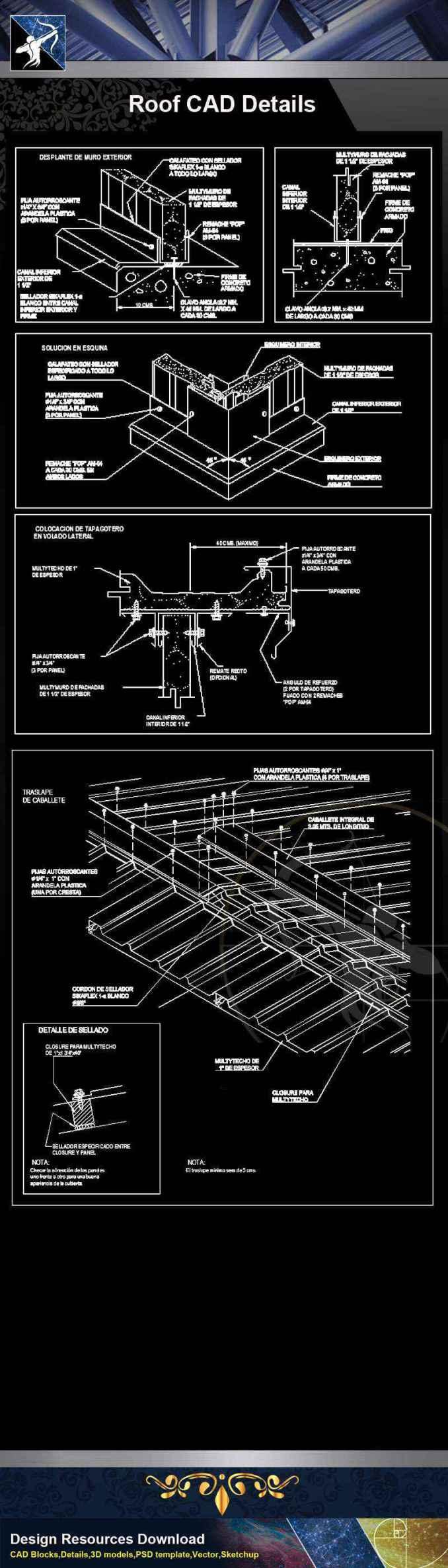 【Architecture CAD Details Collections】Roof CAD Details V.2