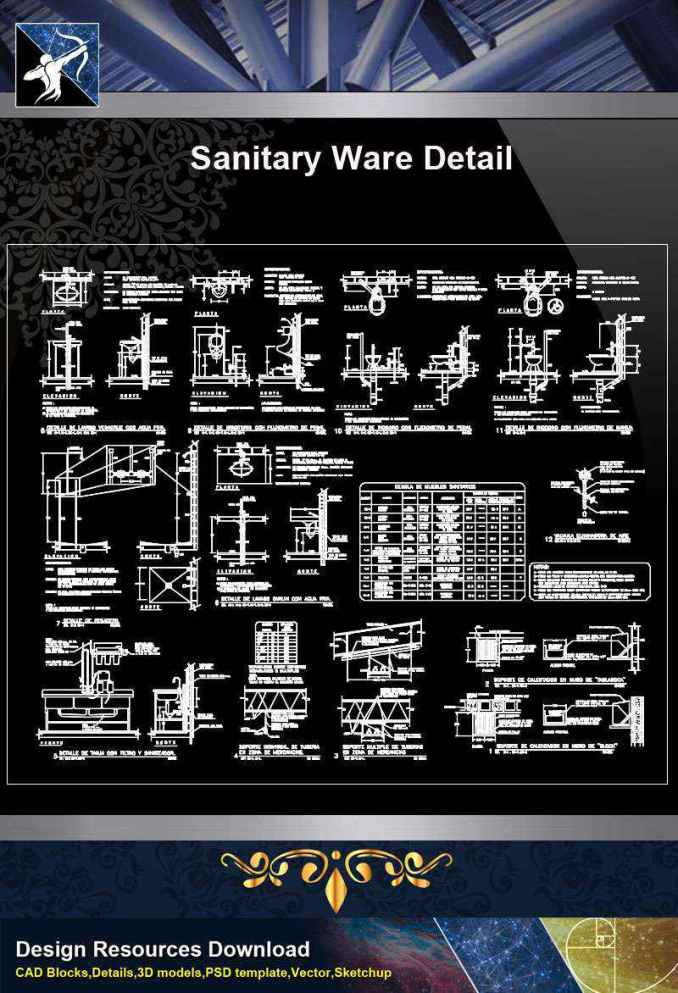 【Architecture CAD Details Collections】Sanitary Ware Details