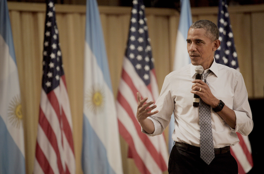U.S. President Barack Obama speaks during a town hall event at Usina de las Artes in Buenos Aires, Argentina, on Wednesday, March 23, 2016. Obama became the first U.S. president to visit Argentina in more than a decade as his counterpart, Mauricio Macri, seeks a rapprochement with the international community following a decade of financial and diplomatic isolation. Photographer: Diego Levy/Bloomberg *** Local Caption *** Barack Obama