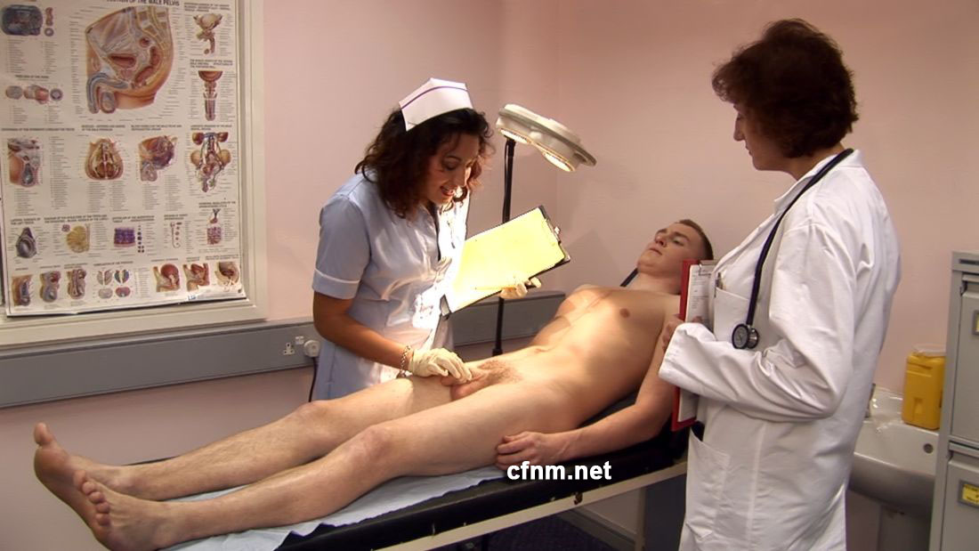 Cfnm femdom mature doctor examining a young male