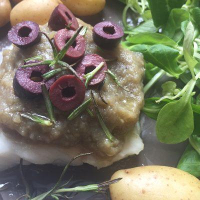 cabillaud au caviar d'aubergine