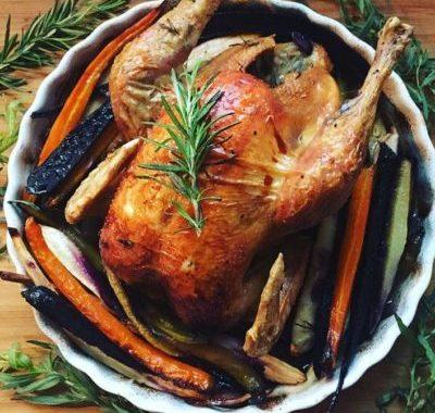 sans gluten ni produits laitiers : poulet roti panais