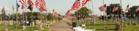 photo: Avenue of Flags at Memorial Day ceremony, Centralia Cemetery, Centralia, Missouri.