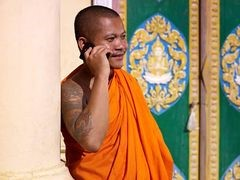 A monk having an international conference call