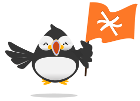 puffin holding a freeconference.com flag