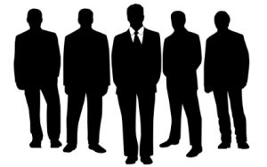 silhouettes of people in business suits about to hold a meeting or conference.