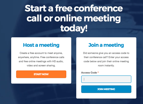 new freeconference.com online conference call user interface