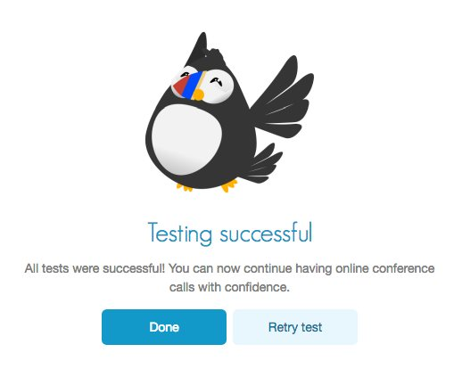 FreeConference.com free connection test success screen