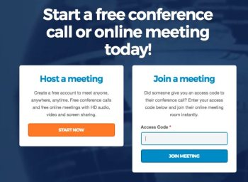 FreeConference.com homepage screen with join meeting section for joining free online conference calls via access code