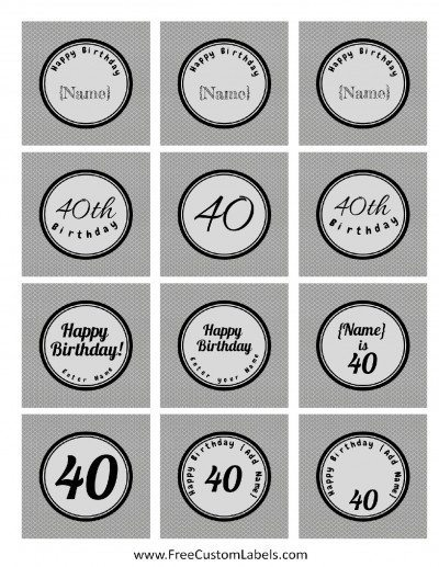 40th Birthday Cupcake Toppers Free Amp Customizable
