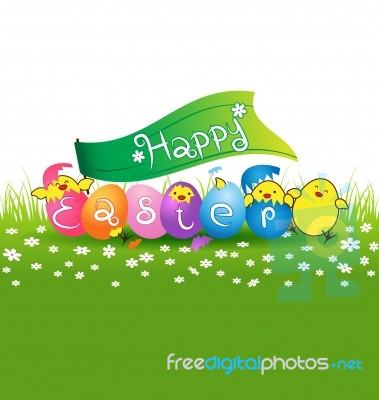 Cute Baby Chicken And Colorful Eggs For Easter Day Card Stock Image