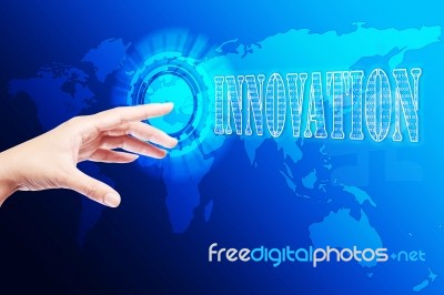 Hand Pushing Innovation Button Stock Image