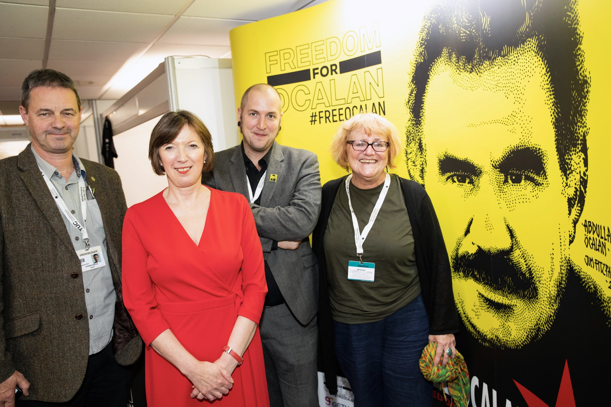 Frances O'Grady General Secretary of TUC at the Freedom for ocalan stand at TUC congress 2019
