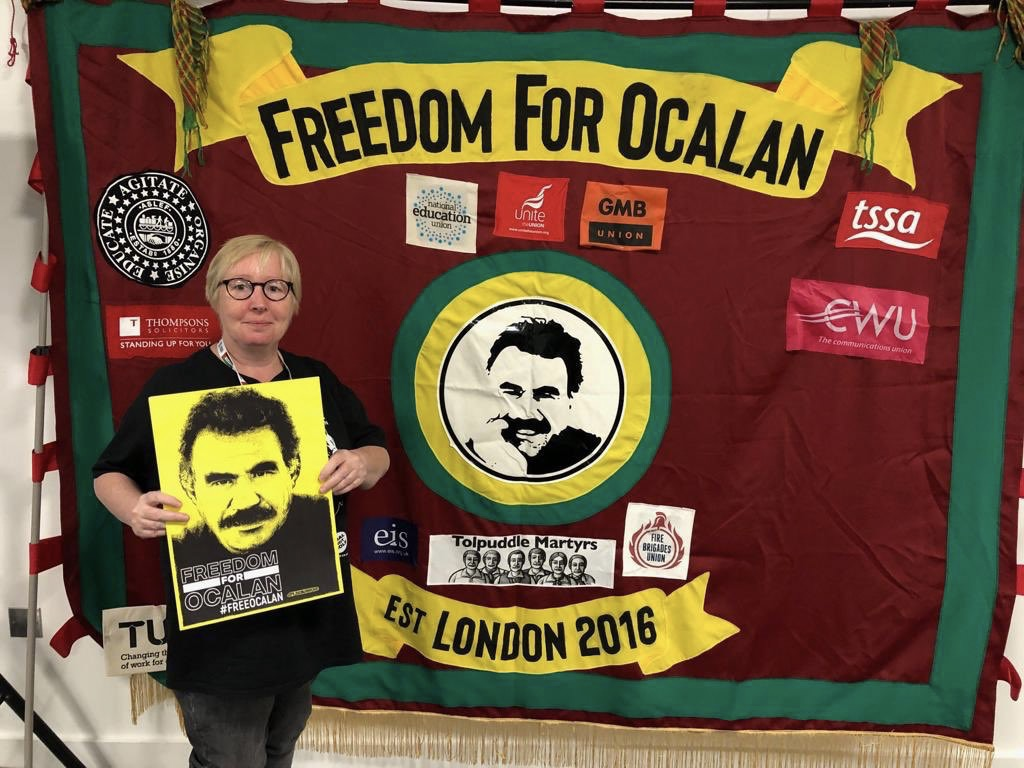 Lorraine Mannion national LGBT committee Unite the Union Freedom fro Ocalan abnner TUC congress 2019