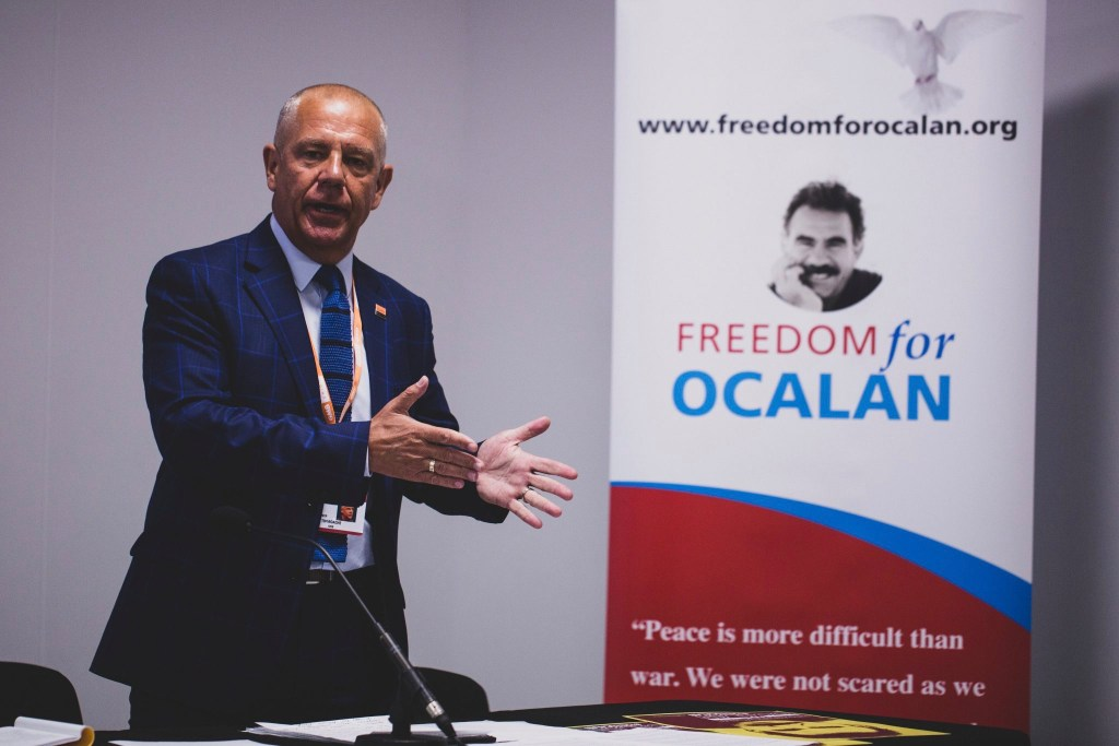 """Tim Roache, General Secretary GMB speaking at """"The battle for Turkey's future"""" fringe at TUC 2019 calling for Freedom for Ocalan"""