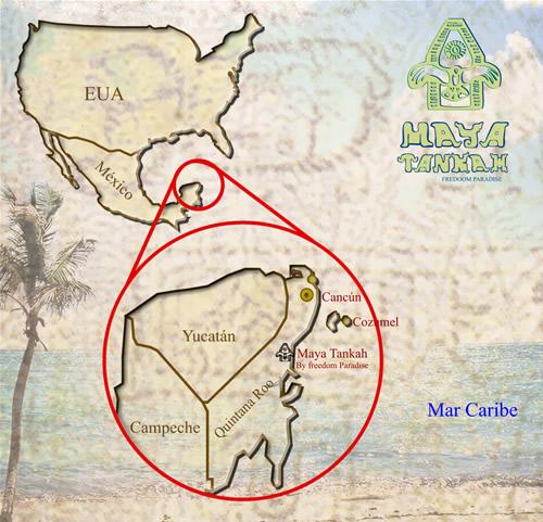 Location of Tulum Cabins Tankah Chemuyil