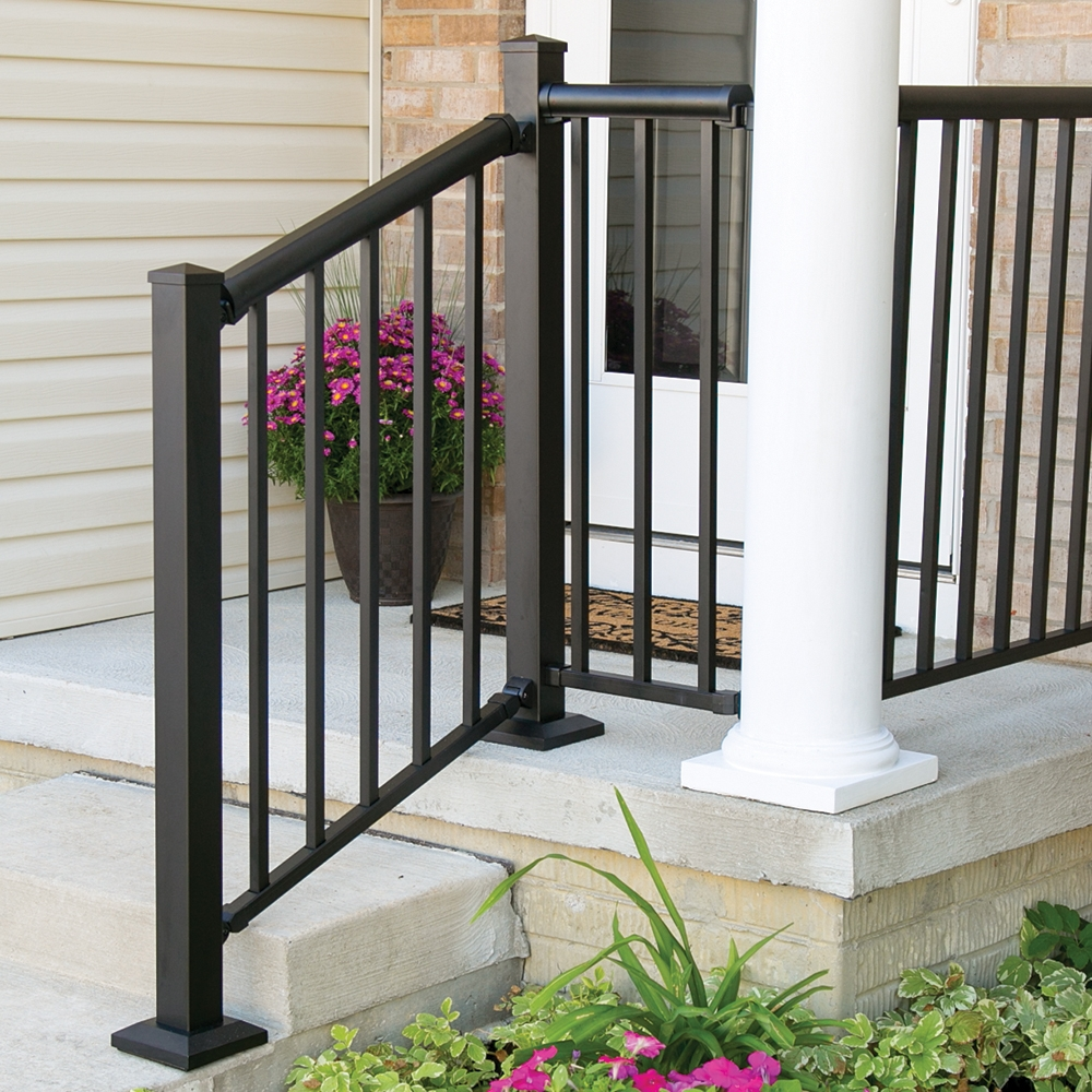 Winchester Mix N Match Ready To Assemble Aluminum Stair Rail Kit | Black Outdoor Stair Railing | Interior Stair | Modern | Pipe | Composite Deck | 2 Step