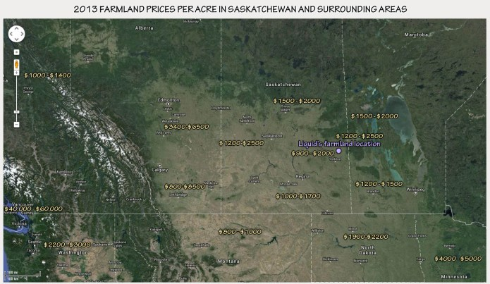 average price of a quarter section of farm land in Saskatchewan and surrounding areas