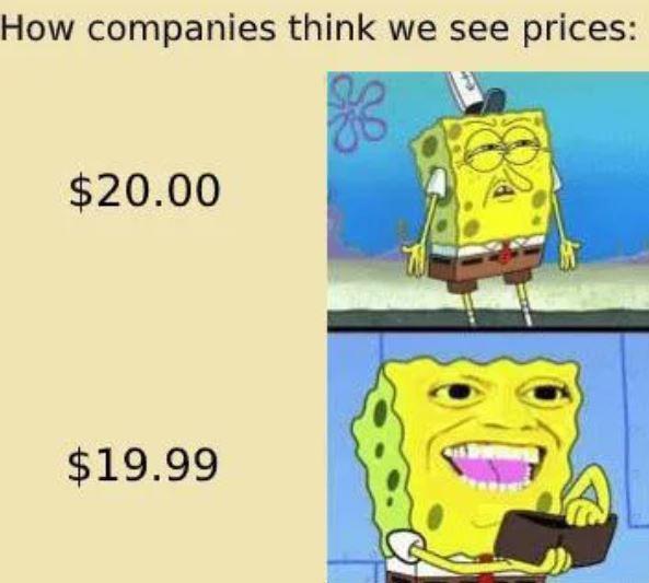 sponge bob paying