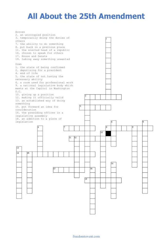 All About the 25th Amendment Crossword Puzzle