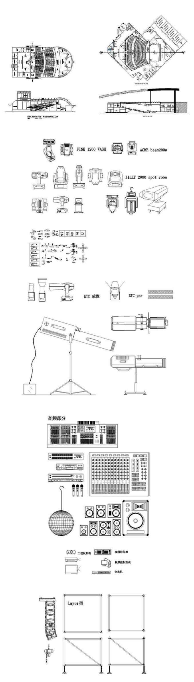 ★【Auditorium ,Cinema, Theaters CAD Blocks-Stage Equipment CAD  Blocks】@Cinema Design,Autocad Blocks,Cinema Details,Cinema Section,Cinema  elevation