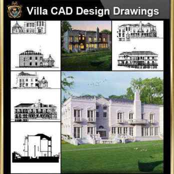 ★【Villa CAD Design,Details Project V.7-British George Style】Chateau,Manor,Mansion,Villa@Autocad Blocks,Drawings,CAD Details,Elevation