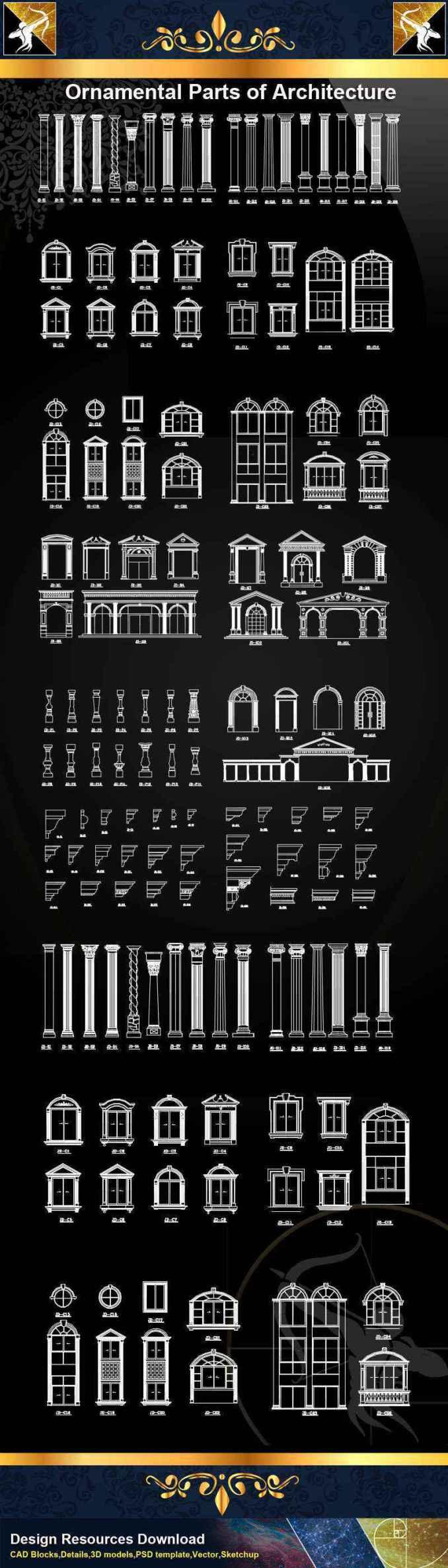 Ornamental Parts Of Architecture Decoration Element Cad Blocks