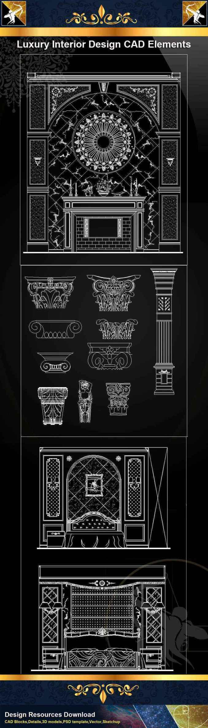 ★【Luxury Interior Design CAD Elements】@Autocad Decoration Blocks,Drawings,CAD Details,Elevation