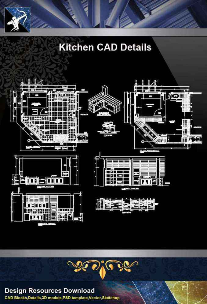 【Architecture CAD Details Collections】Kitchen CAD Detail and Design