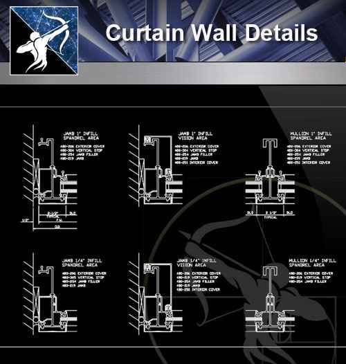 architecture cad details collections curtain wall cad details