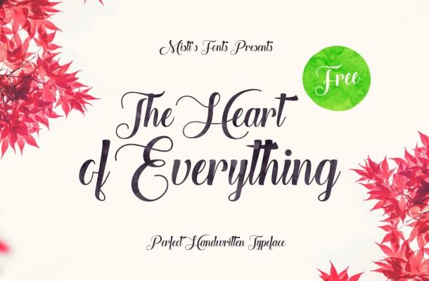 The Heart of Everything – Handwritten Font