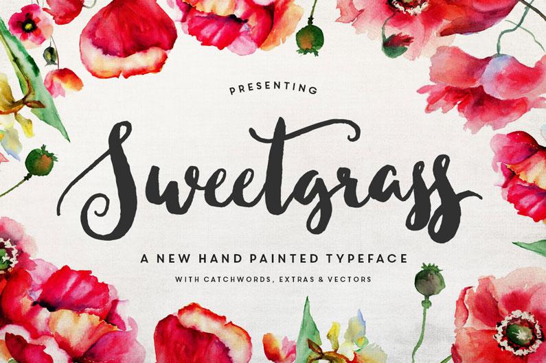 Sweetgrass Typeface & Floral Vectors