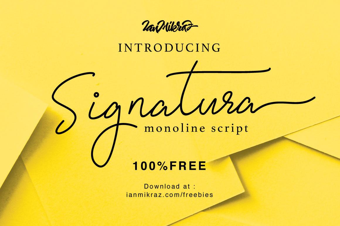signature font monoline