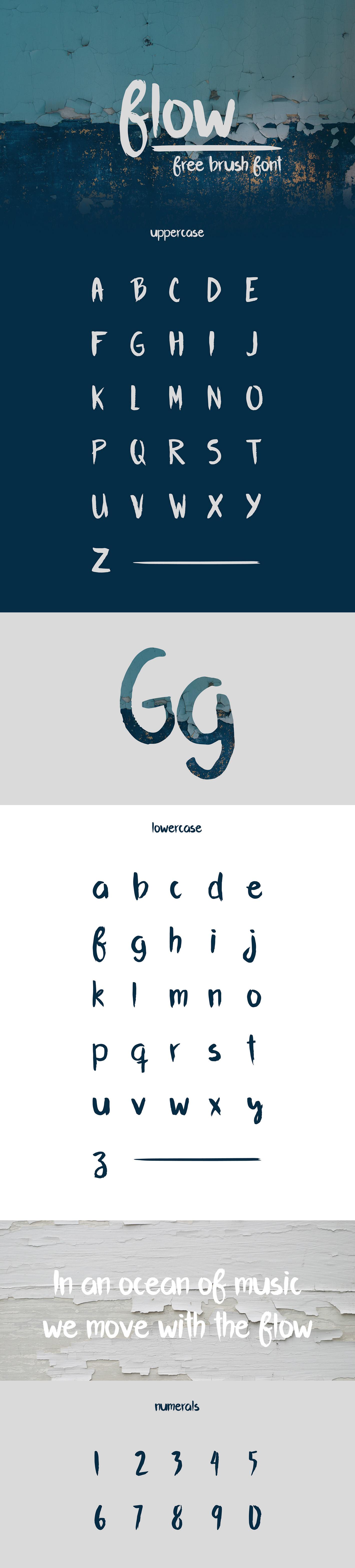 Flow I free brush font on Behance