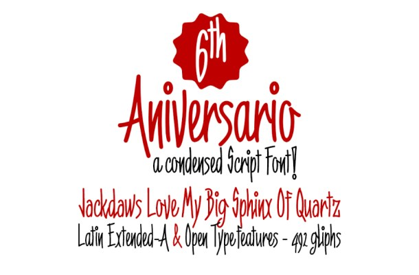 6th Anniversary Narrow Script Font
