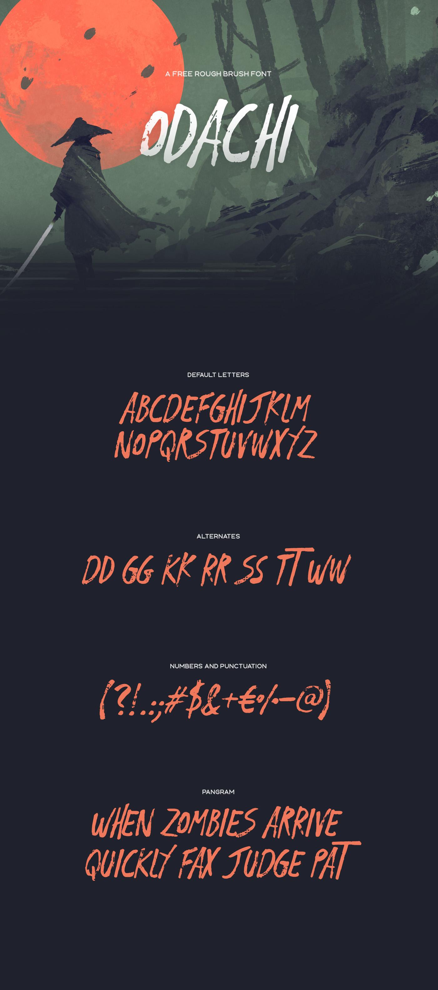 Odachi brush font