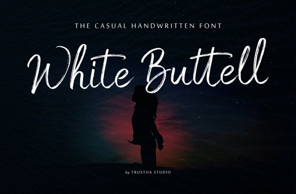 White Buttell Brush Font