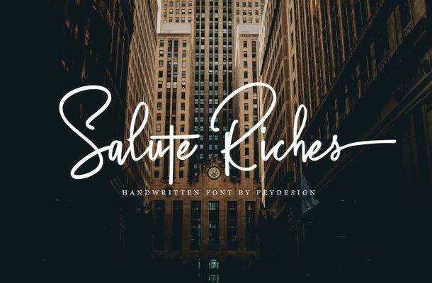 Salute Riches Handwritten Font