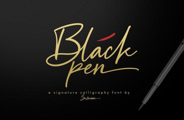 Black Pen Signature Font