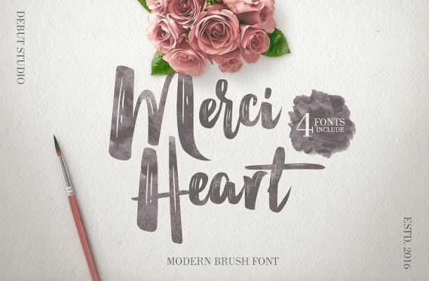 Merci Heart Brush Font