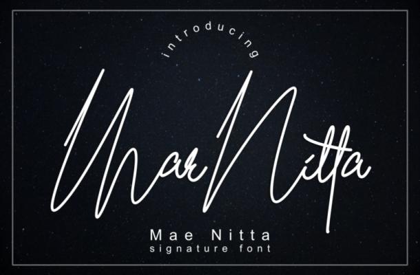 Mae Nitta Signature Font