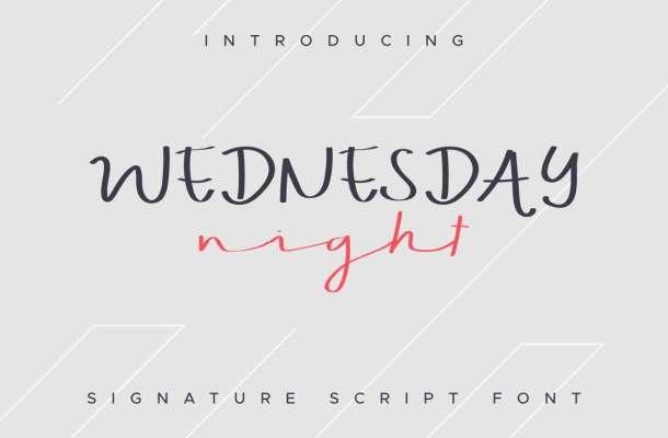 WEDNESDAY night Font Handwriting