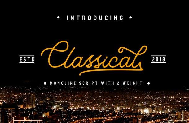 Classical Monoline Script Font