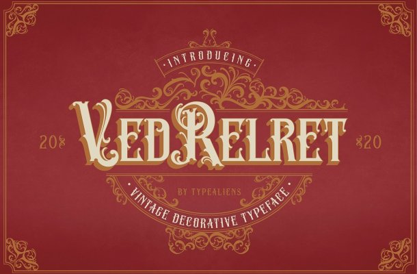 Ved Relret Decorative Display Font