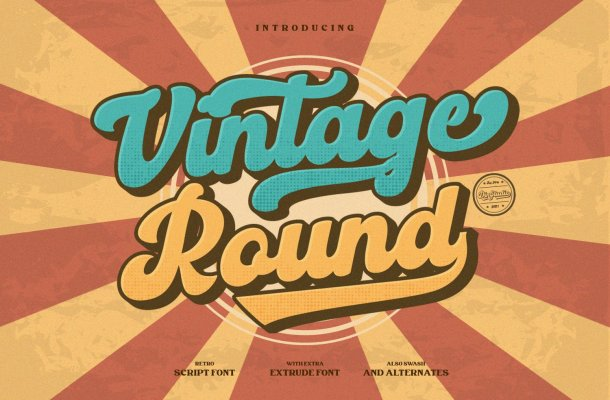 Vintage Round Font
