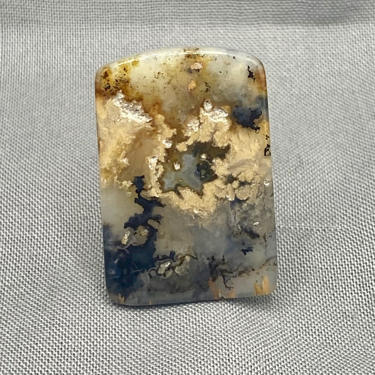 Gray /& White with Great Patterns Graveyard Plume Agate Cabochon 117L0021