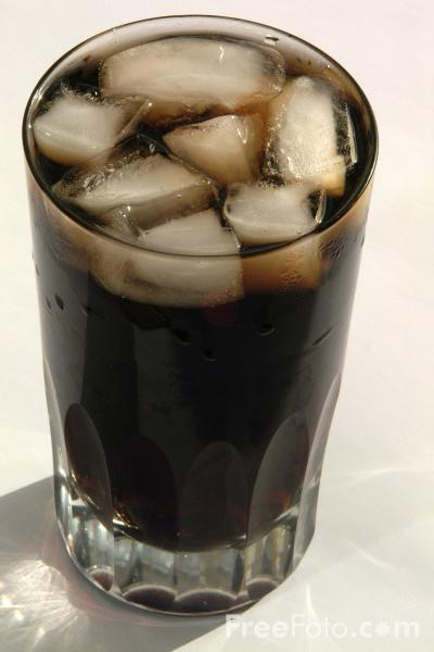 Cola in a glass. Linked from freephoto.com