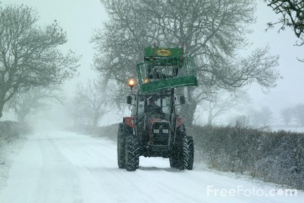 Picture of Tractor in the snow - Free Pictures - FreeFoto.com